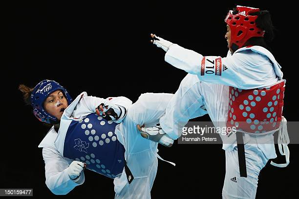 AnneCaroline Graffe of France competes against Glenhis Hernandez of Cuba during the Women's 67kg Taekwondo semifinal match on on Day 15 of the London...