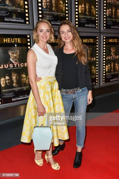Anne-Catrin Maerzke and Josephin Busch attend the premiere of 'Justice' at the cinema in the Kulturbrauerei on June 13, 2018 in Berlin, Germany.