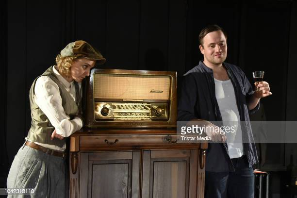 Anne-Catrin Maerzke and Lorris Andre Blazejewski during the rehearsal for the play 'Empfaenger unbekannt' at Theater Unterm Dach on September 26,...