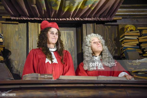 Anne-Catrin Maerzke and protagonist Leonie pose during the VIP Theatre Event At Berlin Dungeon on April 03, 2017 in Berlin, Germany.
