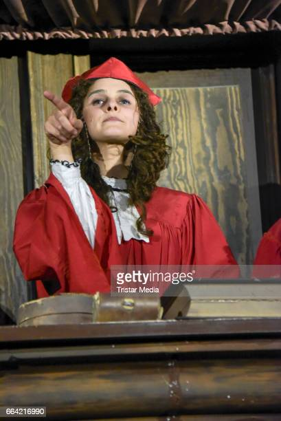 Anne-Catrin Maerzke poses during the VIP Theatre Event At Berlin Dungeon on April 03, 2017 in Berlin, Germany.