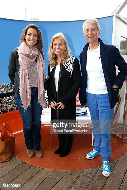 AnneClaire Coudray Ambassador of USA in France Jane D Hartley and Journalist JeanClaude Narcy attend Day Fourteen Women single's Final of the 2016...