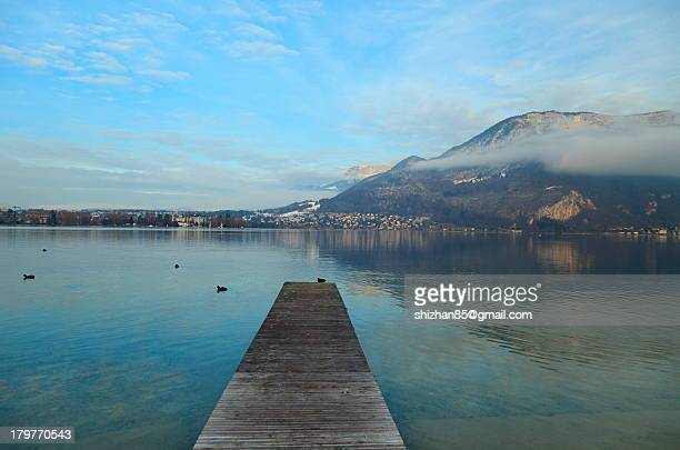 annecy lake - lake annecy stock photos and pictures