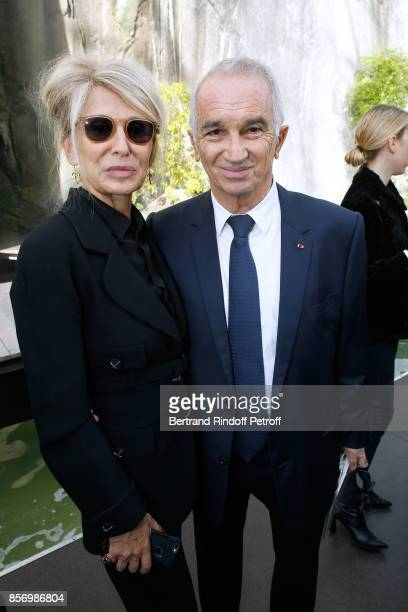 AnneFlorence Schmitt and Alain Terzian attend the Chanel show as part of the Paris Fashion Week Womenswear Spring/Summer 2018 on October 3 2017 in...