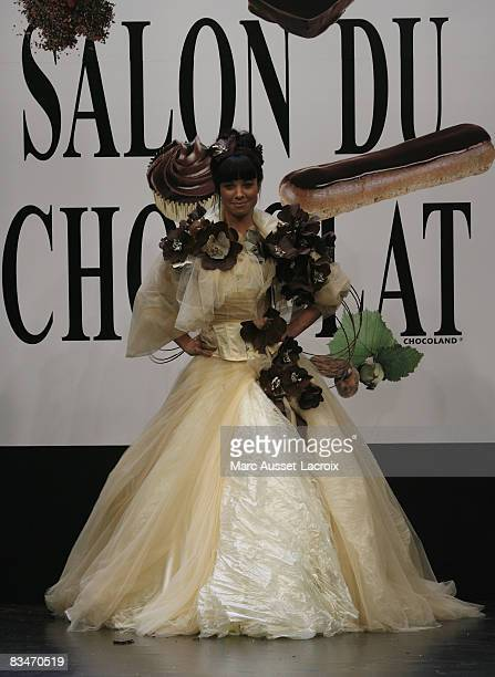 AnneGaelle Riccio displays a chocolate creation at the opening show of the 14th 'Salon du Chocolat' held at Porte de Versailles October 28 2008 in...