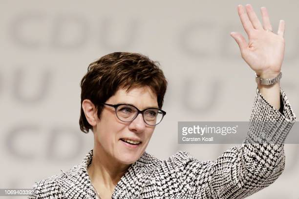 Annegret Kramp-Karrenbauer acknowledges delegates after receiving the most votes to become the next leader of the German Christian Democrats at a...