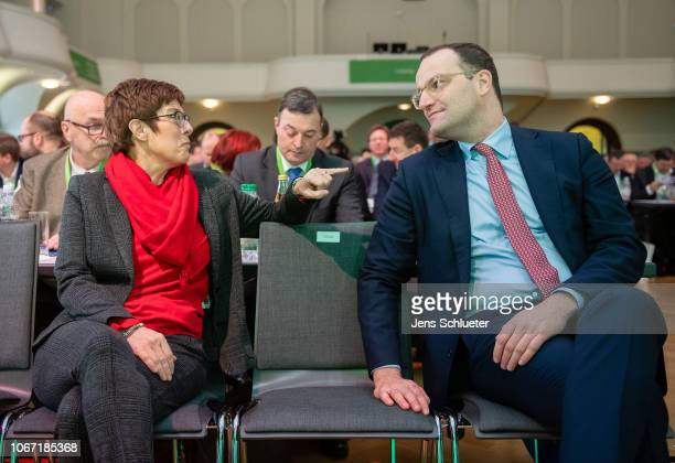 Annegret KrampKarrenbauer and Jens Spahn of the German Christian Democrats attend at a CDU Saxony state congress on December 1 2018 in Leipzig...