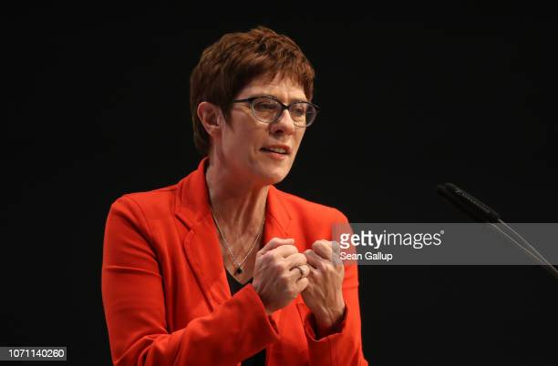 Annegret KrampKarrenbauer candidate to succeed Angela Merkel as leader of the German Christian Democrats presents herself to the audience at a...
