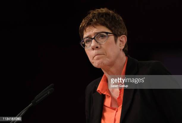 Annegret Kramp-Karrenbauer, Chairwoman of the German Christian Democrats , speaks the annual CDU Ash Wednesday gathering on March 06, 2019 in Demmin,...