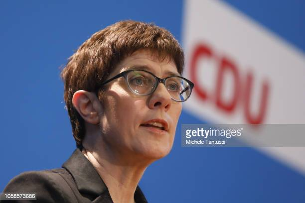 Annegret KrampKarrenbauer currently General Secretary of the German Christian Democrats speaks to journalists on her candidacy to succeed Chancellor...