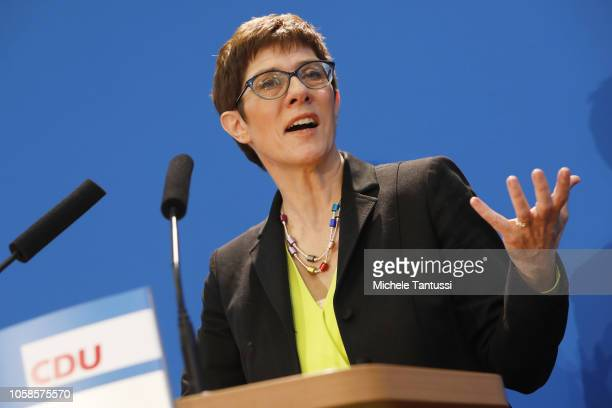 Annegret Kramp-Karrenbauer, currently General Secretary of the German Christian Democrats , speaks to journalists on her candidacy to succeed...