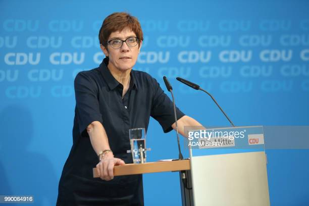 Annegret KrampKarrenbauer General Secretary of Germany's CDU gives a statement to the press at the German Christian Democrats headquarters in Berlin...