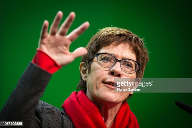 Annegret KrampKarrenbauer general secretary of the Christian Democrat Union and leadership candidate speaks during the CDU state party conference on...