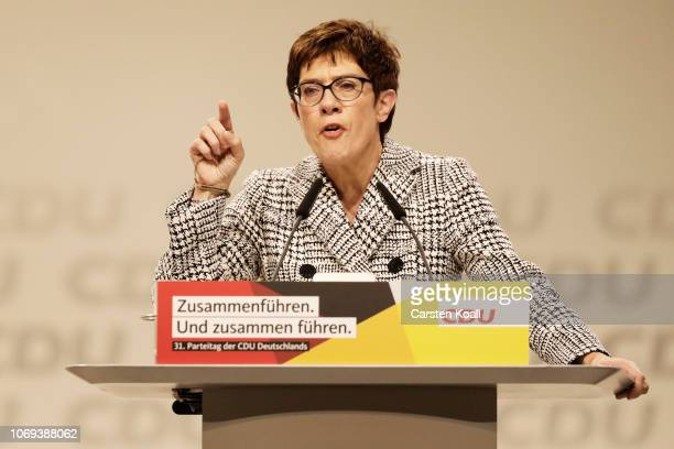 Annegret KrampKarrenbauer general secretary of the Christian Democrat Union addresses delegates at the federal congress of the CDU on December 7 2018...