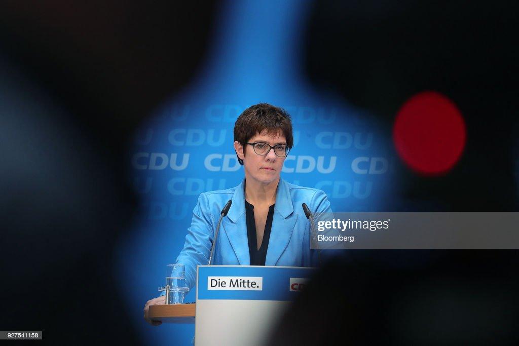 CDU General Secretary Annegret Kramp-Karrenbauer News Conference Following Social Democrat Party's Coalition Vote : News Photo