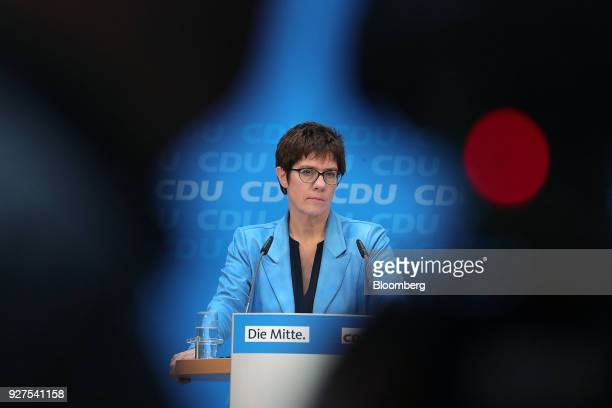 Annegret KrampKarrenbauer general secretary of the Christian Democrat Union pauses during a news conference in Berlin Germany on Monday March 5 2018...