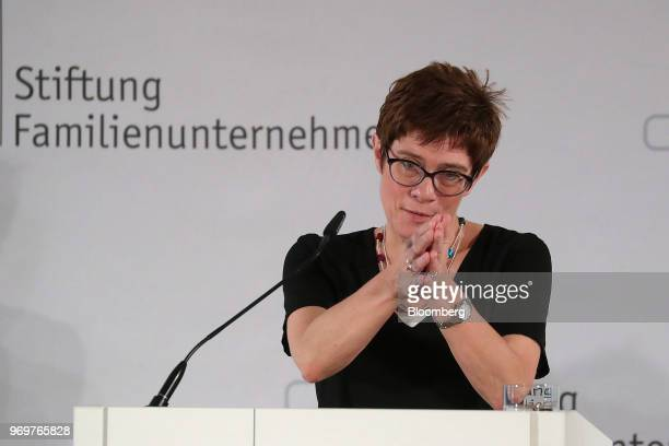 Annegret KrampKarrenbauer general secretary of the Christian Democrat Union gestures while speaking at the German Foundation of Family Businesses...