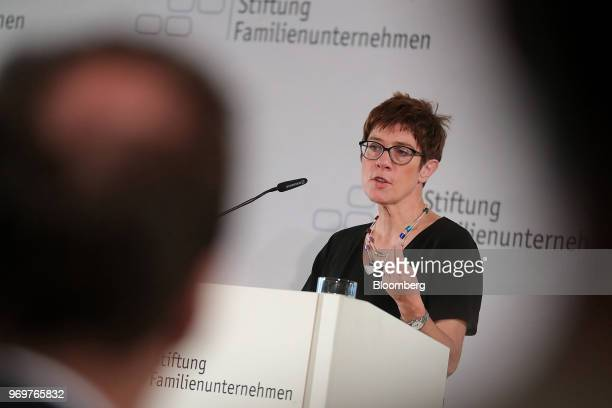 Annegret KrampKarrenbauer general secretary of the Christian Democrat Union speaks at the German Foundation of Family Businesses conference in Berlin...