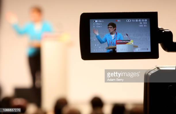 Annegret KrampKarrenbauer general secretary of the German Christian Democrats speaks at the CDU party's regional conference for Berlin and the state...
