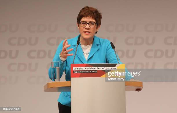 Annegret Kramp-Karrenbauer, general secretary of the German Christian Democrats , speaks at the CDU party's regional conference for Berlin and the...