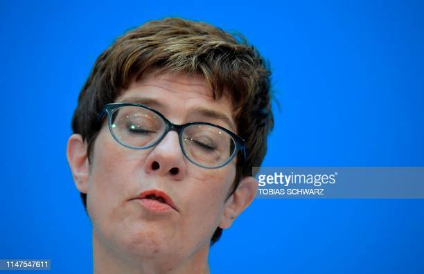 Annegret Kramp-Karrenbauer, leader of Germany's conservative CDU party, leaves after giving a short statement on June 2, 2019 to comment on the...