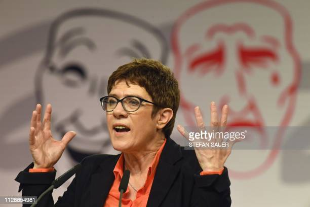 Annegret KrampKarrenbauer leader of the Christian Democratic Union addresses the traditional Ash Wednesday event in Demmin northern Germany on March...