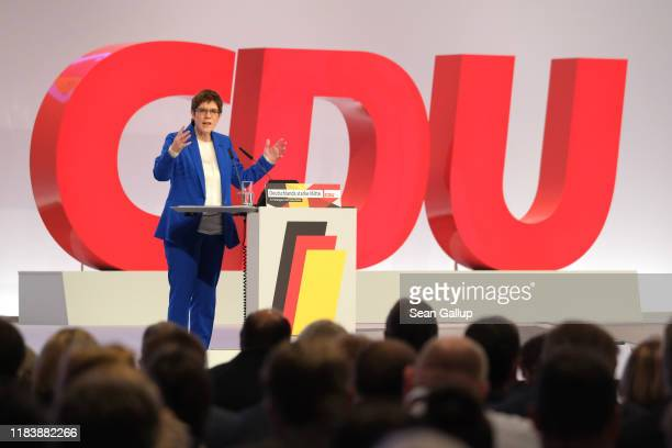Annegret KrampKarrenbauer leader of the German Christian Democrats speaks during the 32nd federal congress of the German Christian Democrats on...