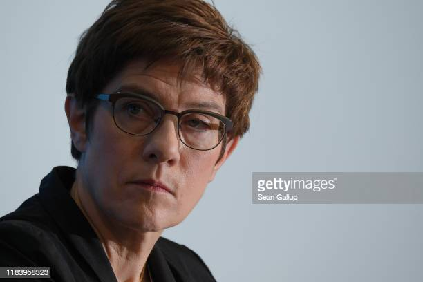 Annegret Kramp-Karrenbauer, leader of the German Christian Democrats , speaksto the media the day after state elections in Thuringia on October 28,...