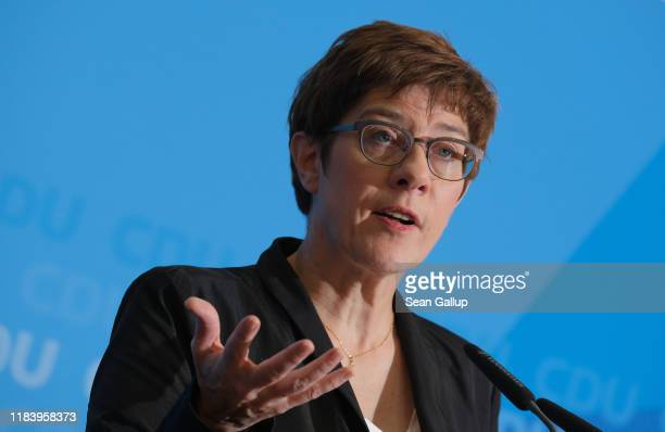 Annegret KrampKarrenbauer leader of the German Christian Democrats speaksto the media the day after state elections in Thuringia on October 28 2019...