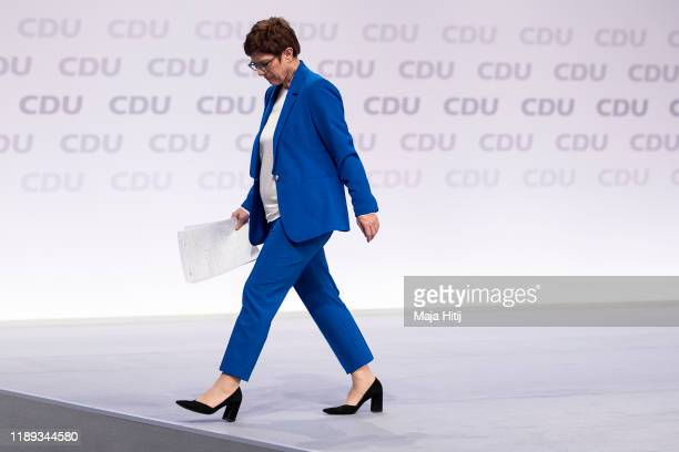 Annegret KrampKarrenbauer leader of the German Christian Democrats leave the podium after her speach during the 32nd federal congress of the German...