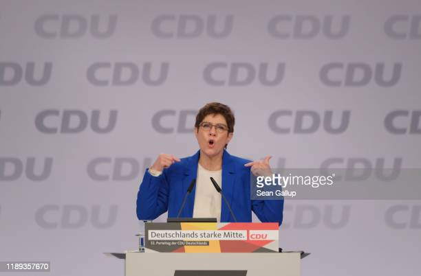 Annegret KrampKarrenbauer leader of the German Christian Democrats speaks at the 32nd federal congress of the German Christian Democrats on November...