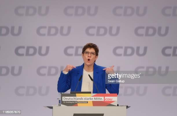 Annegret Kramp-Karrenbauer, leader of the German Christian Democrats , speaks at the 32nd federal congress of the German Christian Democrats on...