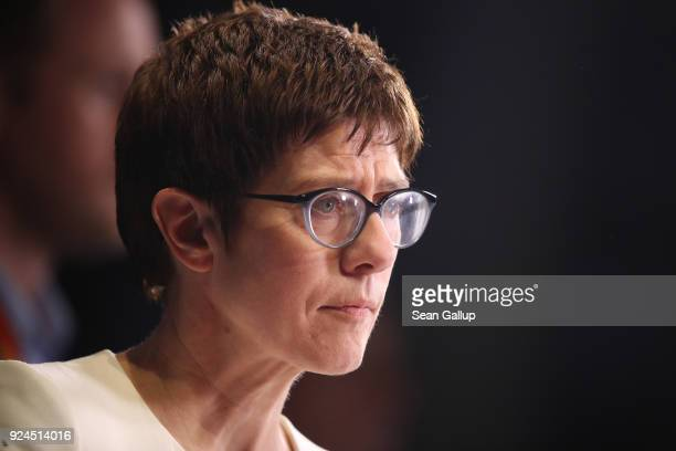 Annegret KrampKarrenbauer listens to a reporter's question shortly after she was elected new general secretary of the German Christian Democrats at...