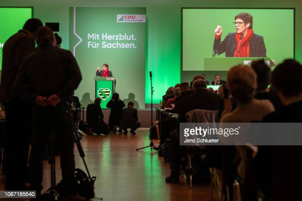Annegret KrampKarrenbauer of the German Christian Democrats speaks to members of the German Christian Democrats at a CDU Saxony state congress on...