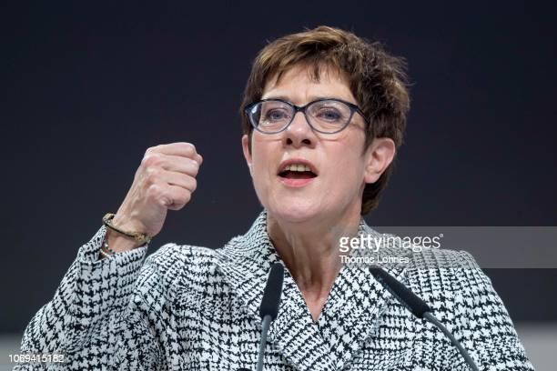 Annegret KrampKarrenbauer speaks at the federal congress of the German Christian Democrats on December 7 2018 in Hamburg Germany German Chancellor...