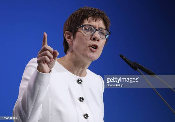 Annegret KrampKarrenbauer speaks to delegates shortly before she was elected new general secretary of the German Christian Democrats at the 30th CDU...