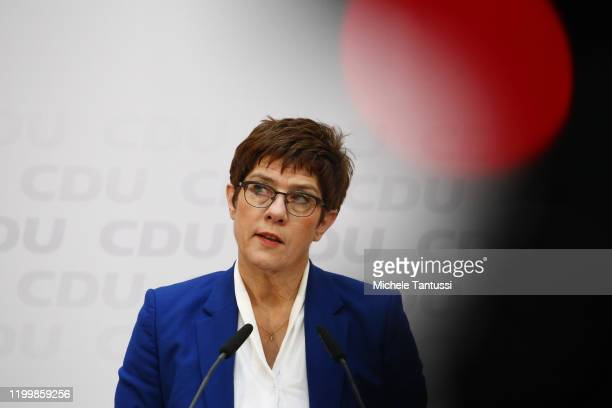 Annegret KrampKarrenbauer who is the German defence minister and also leader of the German Christian Democrats speaks to the media at CDU party...