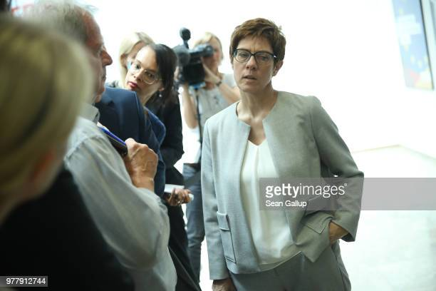 AnnegretKramp Karrenbauer General Secretary of the German Christian Democrats speaks to journalists following a press conference by German Chancellor...