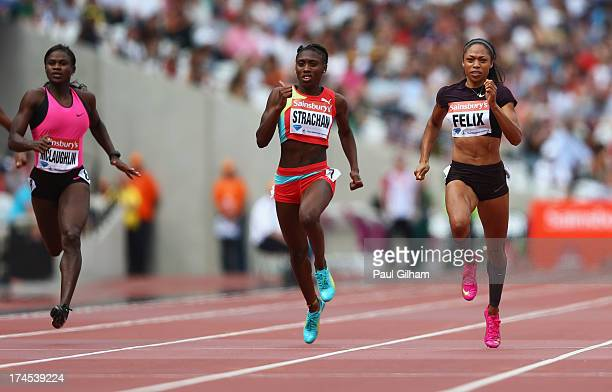 Anneisha McLaughlin of Jamaica Anthonique Strachan of the Bahamas and Allyson Felix of the United States compete in the Women's 200m during day two...