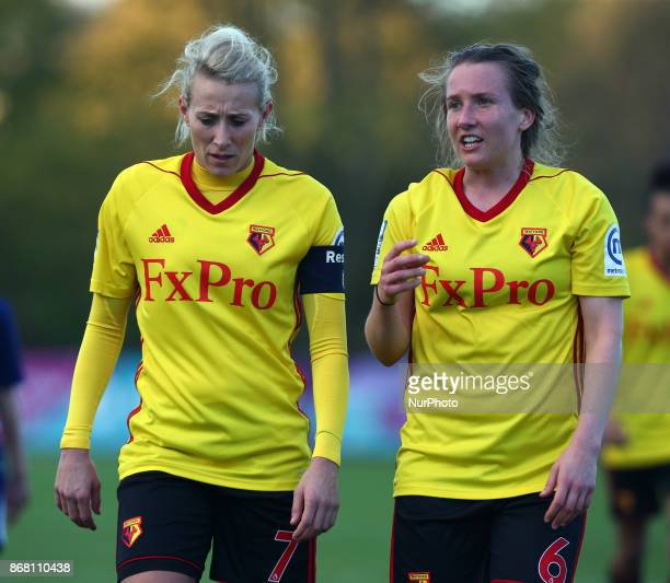 LR Anneka Nuttall of Watford Ladies and Sarah Jones of Watford Ladies during Women's Super League 2 match between Watford Ladies v Tottenham Hotspur...