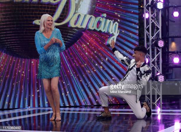 Anneka Rice and Karim Zeroual attend the Strictly Come Dancing launch show red carpet at Television Centre on August 26 2019 in London England