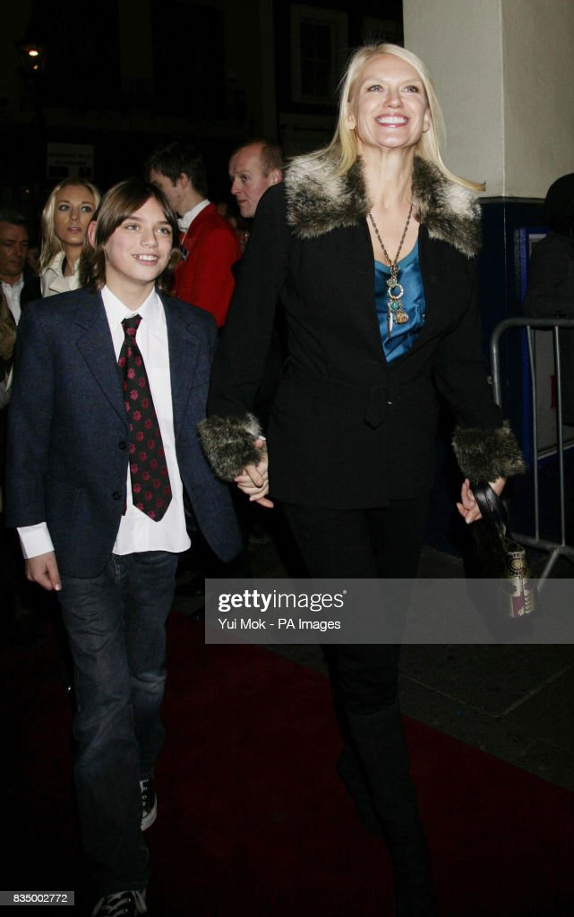 Anneka Rice and son arriving for the first night of the musical 'Oliver!' at the Theatre Royal in Drury Lane, central London.