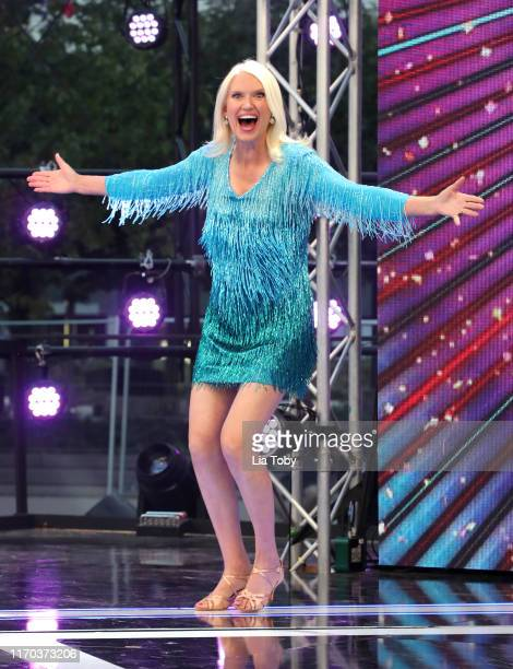 Anneka Rice on stage at the Strictly Come Dancing launch show at Television Centre on August 26 2019 in London England