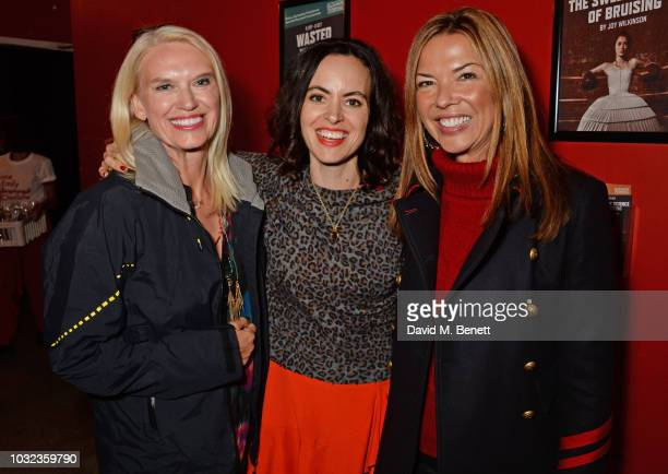 Anneka Rice Sally Wood and Heather Kerzner attend the press night after party for 'Wasted' at the Southwark Playhouse on September 12 2018 in London...