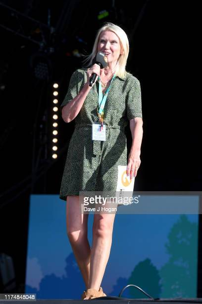 Anneka Rice speaks on stage during BBC2 Radio Live 2019 at Hyde Park on September 15 2019 in London England
