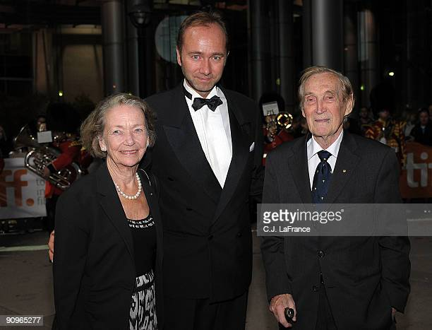 AnneKarin Sonsteby Norwegian Minister of Culture Trond Giske and Gunnar Sonsteby attends the 'Max Manus' premiere held at Roy Thomson Hall during the...