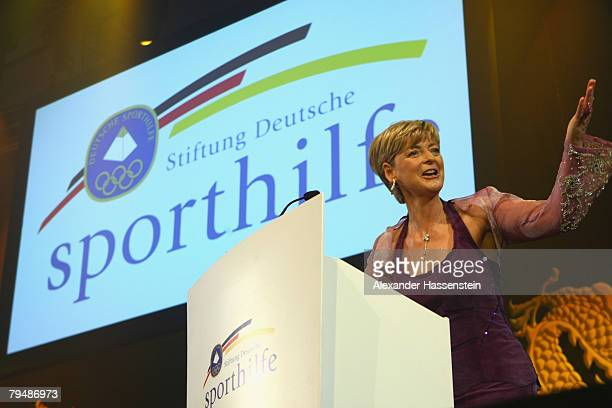 AnneKathrin Linsenhoff speaks at the 2008 Sports Gala ' Ball des Sports ' at the RheinMain Hall on February 2 2008 in Wiesbaden Germany