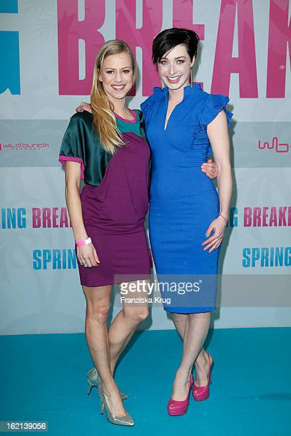 Anneke Duerkopp and Kathy Weber attend the German premiere of 'Spring Breakers' at the cinestar Potsdamer Platz on February 19 2013 in Berlin Germany