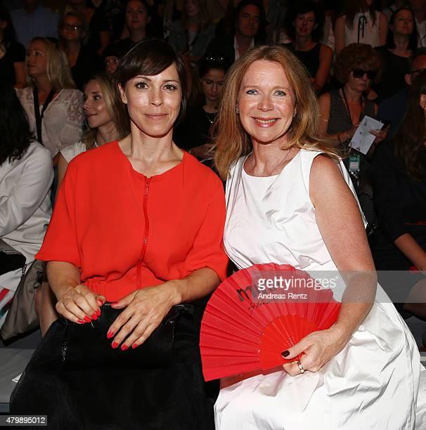 Anneke Kim Sarnau and Marion Kracht attend the Minx by Eva Lutz show during the MercedesBenz Fashion Week Berlin Spring/Summer 2016 at Brandenburg...