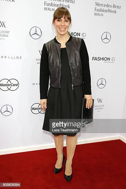 Anneke Kim Sarnau attends the Minx by Eva Lutz show during the MercedesBenz Fashion Week Berlin Autumn/Winter 2016 at Brandenburg Gate on January 20...
